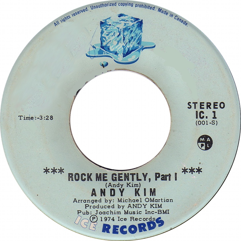 """Record label, """"Rock Me Gently."""""""