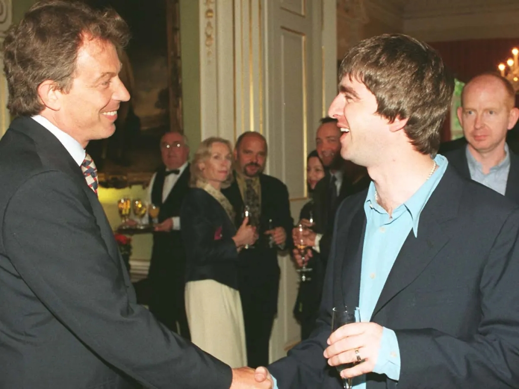 Noel Gallagher visits Tony Blair at 10 Downing Street after the latter's first election in 1997.